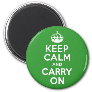 Green Keep Calm and Carry On Fridge Magnet