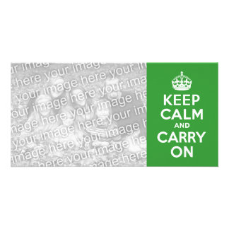 Green Keep Calm and Carry On Photo Card