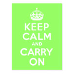 Green Keep Calm and Carry On Postcards