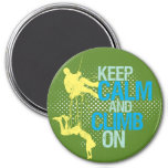 Green Keep Calm and Climb On Rock Climbing Magnet