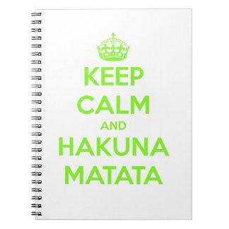 Green Keep Calm and Hakuna Matata Notebook