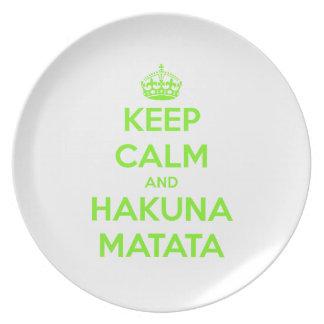 Green Keep Calm and Hakuna Matata Plate