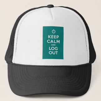 Green Keep Calm And Log Out Trucker Hat