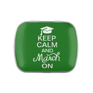 Green Keep Calm and March On Graduation Candy Tins