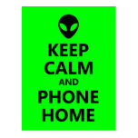 Green Keep Calm and Phone Home Post Cards