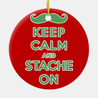 Green keep calm and stache on ceramic ornament