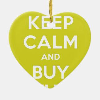 Green Keep Calm & Buy Stuff Ceramic Ornament