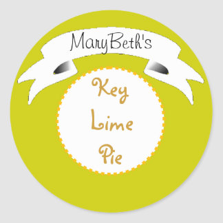 Green Key lime pie label Classic Round Sticker