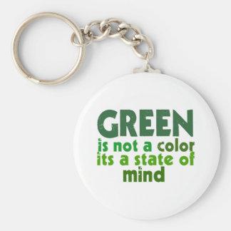 Green Basic Round Button Keychain