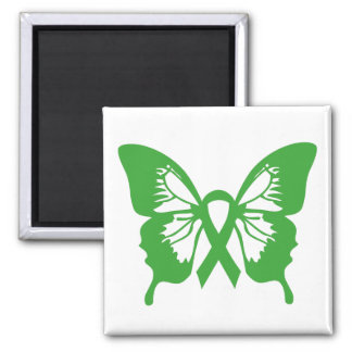 Green Kidney Cancer Butterfly square magnet