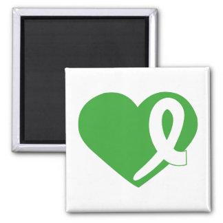 Green Kidney Cancer Heart ribbon square magnet