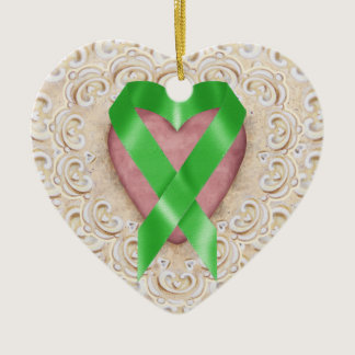 Green Kidney Cancer Ribbon From the Heart - SR Ceramic Ornament