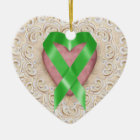 Green Kidney Cancer Ribbon From the Heart - SR Ceramic Ornament