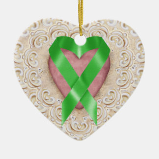 Green Kidney Cancer Ribbon From the Heart - SR Double-Sided Heart Ceramic Christmas Ornament