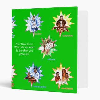 Green kids binder with Professionals as Cartoons