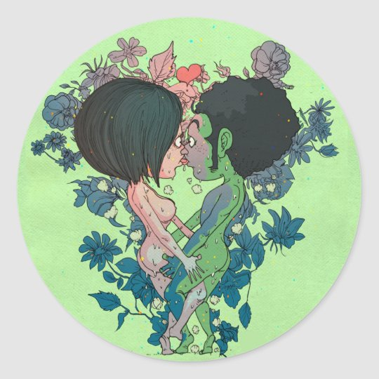 Green Kiss Classic Round Sticker