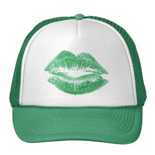 Green Kiss - Green Lipstick Lips Hat