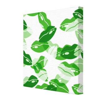 Green Kiss Me Irish Lips Design Stretched Canvas Prints