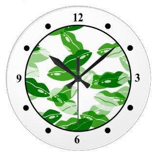 Green Kiss Me Irish Lips Design Large Clock