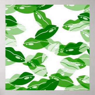 Green Kiss Me Irish Lips Design Print
