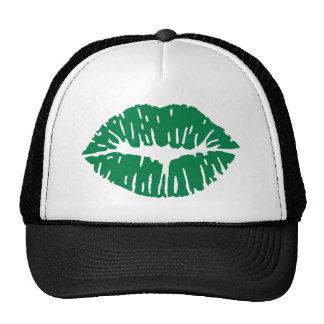 Green kiss trucker hat
