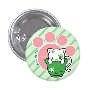 Green Kit-Tea Button (more styles)