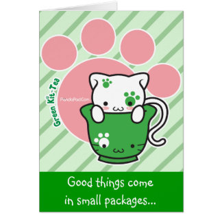 Green Kit-Tea Customizable Card