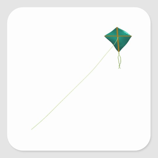 Green Kite Square Sticker