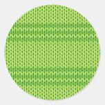 Green Knit Classic Round Sticker