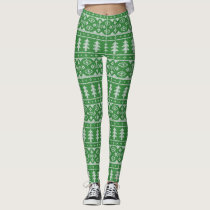 green Knit Jumper ugly Sweater Pattern Leggings