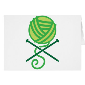 Green knitting wool and crossbones needles cards