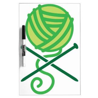 Green knitting wool and crossbones needles dry erase whiteboard