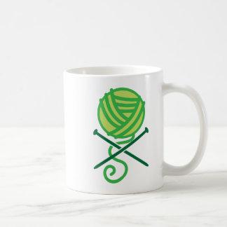 Green knitting wool and crossbones needles coffee mug