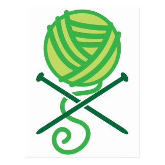 Green knitting wool and crossbones needles postcards