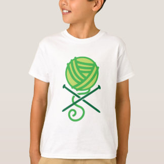 Green knitting wool and crossbones needles T-Shirt