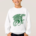 Green Knotwork Dragon on White Sweatshirt