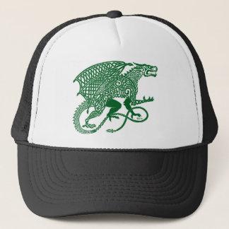 Green Knotwork Dragon on White Trucker Hat