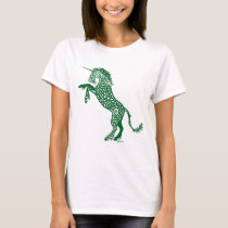 Green Knotwork Unicorn T-Shirt