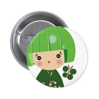 Green Kokeshi Triplet Close Up Pin
