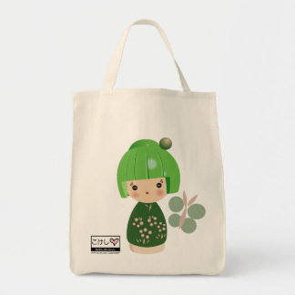 Green Kokeshi Triplet Grocery Tote