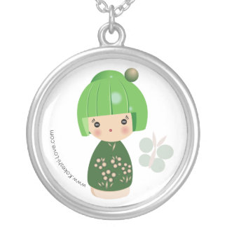 Green Kokeshi Triplet Necklace
