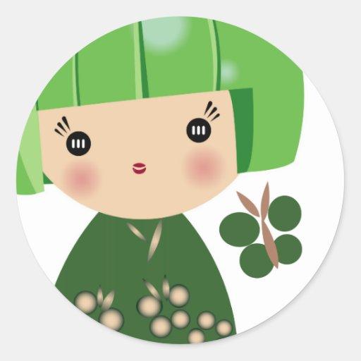 Green kokeshi triplet sticker zazzle for Stickers kokeshi