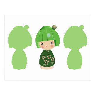 Green Kokeshi Triplet x3 Postcard