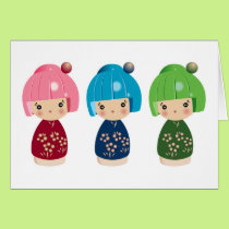 Green Kokeshi Triplets Card