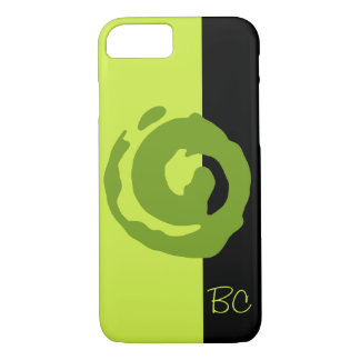 Green Koru on Lime Green and Black iPhone 7 Case