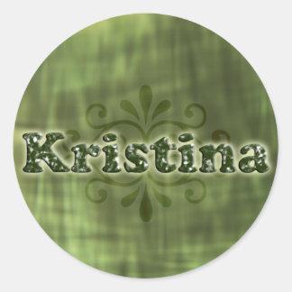 Green Kristina Classic Round Sticker