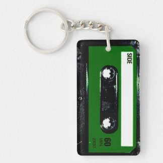 Green Label Cassette Double-Sided Rectangular Acrylic Keychain