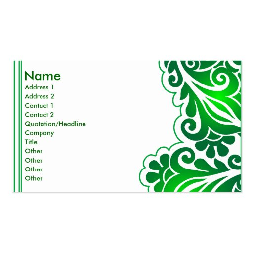 green lace_4 business cards