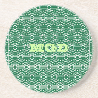 Green lace all over pattern monogram coaster