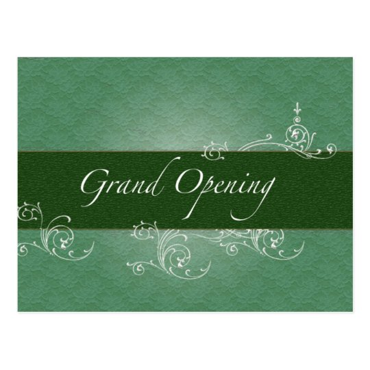 Green Lace and Floral - Grand Opening Postcard